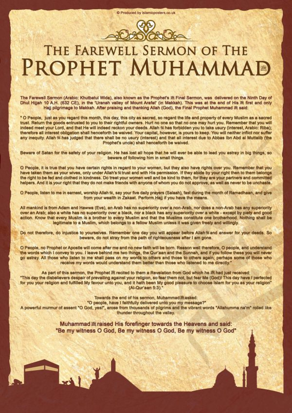English 20 - Farewell Sermon of the Prophet Muhammad By Islamic Posters