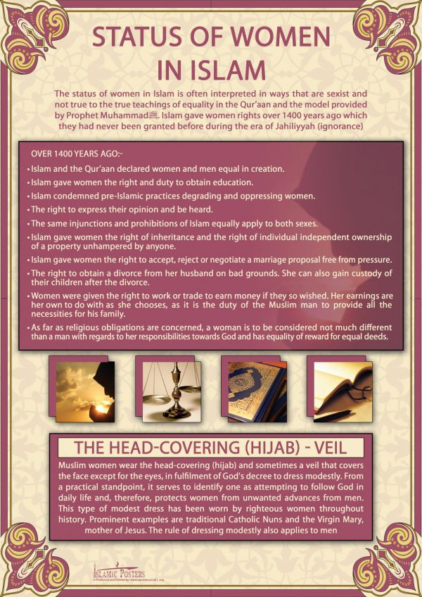 English 26 - Status of Women in Islam Poster By Islamic Posters