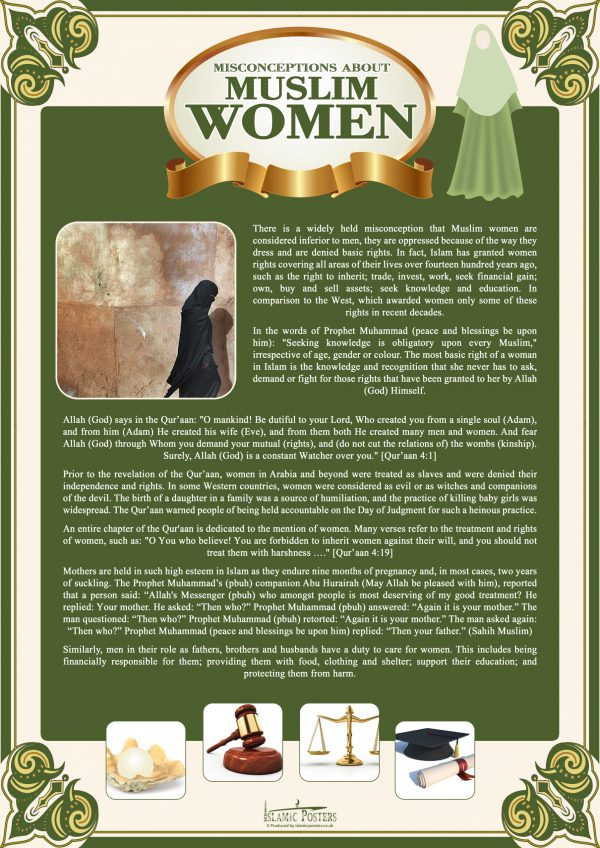 English 3 - 0 Misconceptions About Muslim Women by Islamic Posters