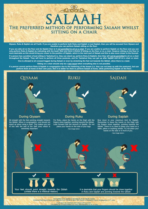 How 11 - The preferred method of performing Salaah whilst sitting on a chair