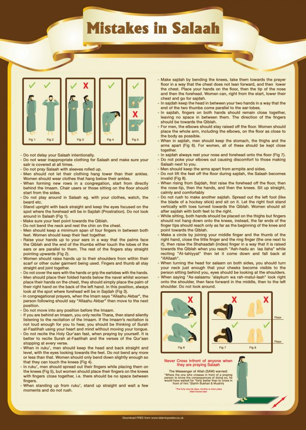 Islamic Education 18 - 1 Mistakes in Salaah Namaaz By Islamic Posters