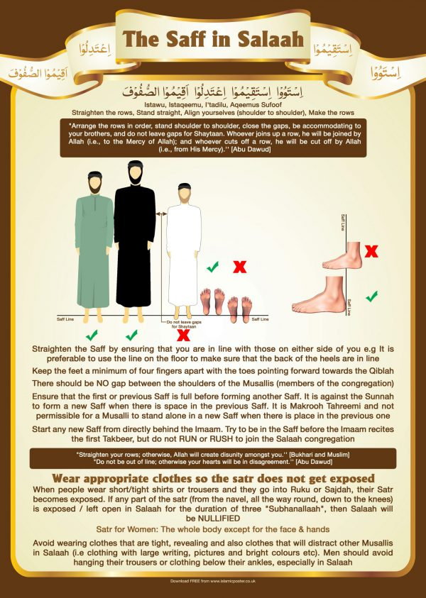Islamic Education 19 - 1 The Saff in Salaah - Do not leave Gaps and straighten the rows and do not expose your Satr