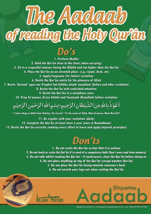 Islamic Education 30 - Aadaab V2 The Aadaab of reading the Holy Quraan