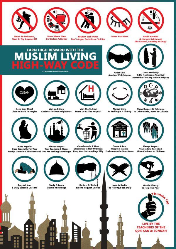 Islamic Education 50 - Muslim LIVING Highway Code By Islamic Posters