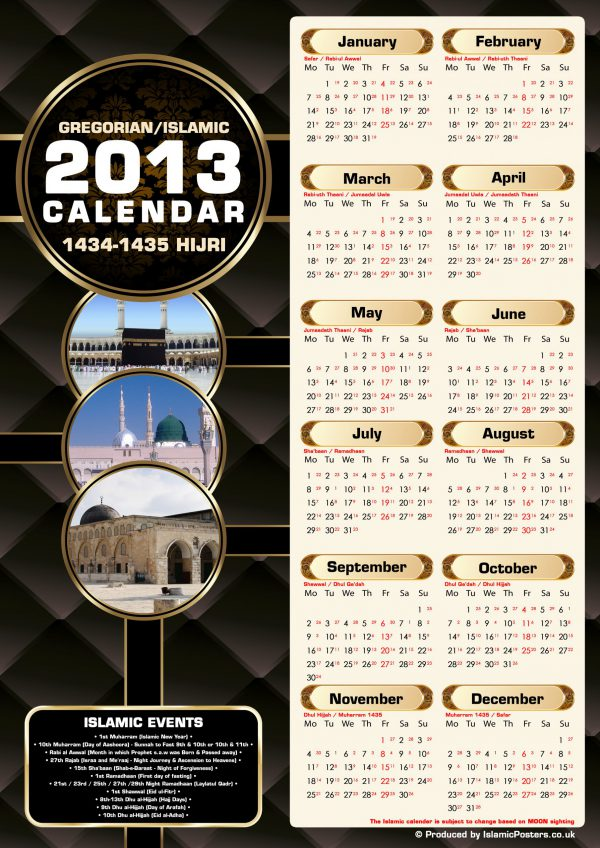 Islamic Education 7 - 00 Islamic & Gregorian Calender 2013 by Islamic Posters
