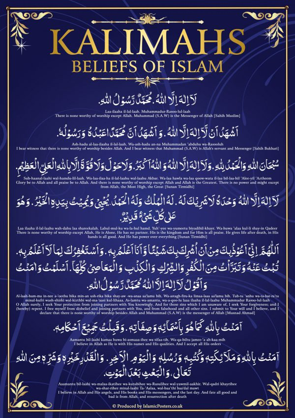 Masjid 10 - 00 Kalimahs Beliefs of Islam by Islamic Posters